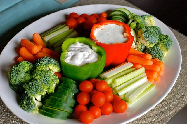 Very Cute Homemade Veggie Platter ~ Ranch dip in one pepper & Cucumber/dill dip in the other!