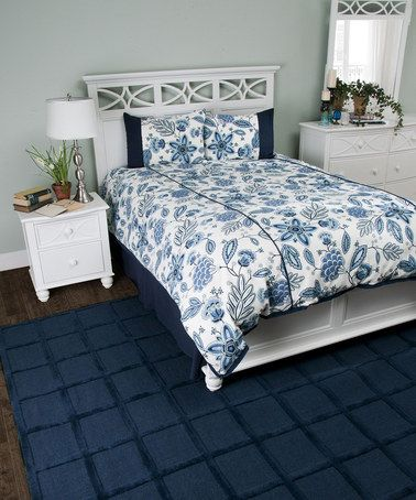 Take a look at this Ivory & Navy Comforter Set by Rizzy Home on #zulily today!