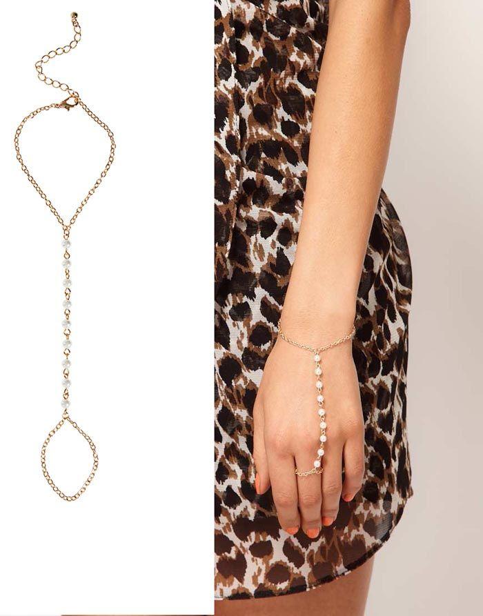 Bransoletka perły z pierścionkiem na łańcuszku