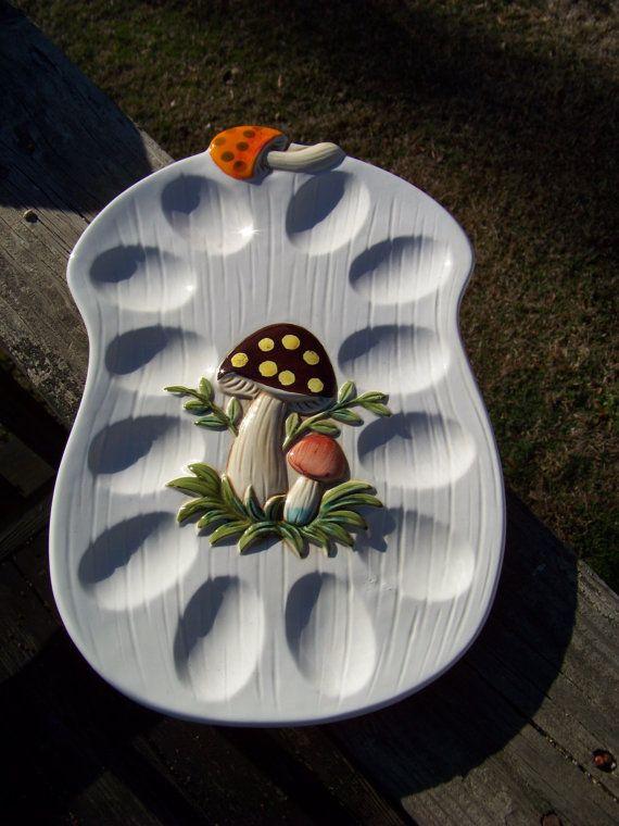 Vintage Mushroom Deviled Egg Platter...Ceramic...Cream Colored...Mid Century Retro Kitchenware on Etsy, $18.00
