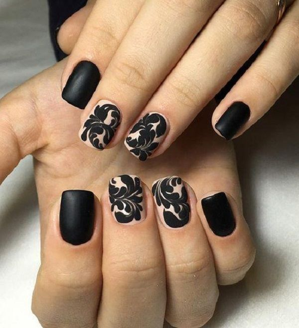 black matte nail art design