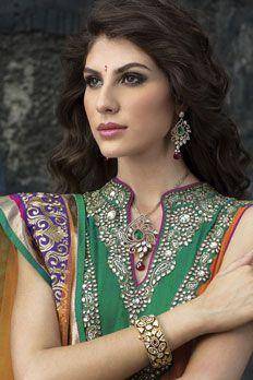 Italian chain with American diamond, vilandi stone, semi precious emerald stone and pink ruby drop in two tone finish