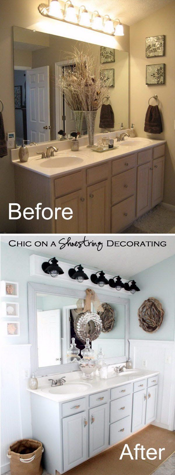 Beachy Bathroom Makeover. Bathroom Renovation. Looking for gorgeous faucets, vanities, sinks for your small bathroom see our selection at www.gorgeoustubs.com Bathroom, tiny bathroom, small bathroom, before and after.