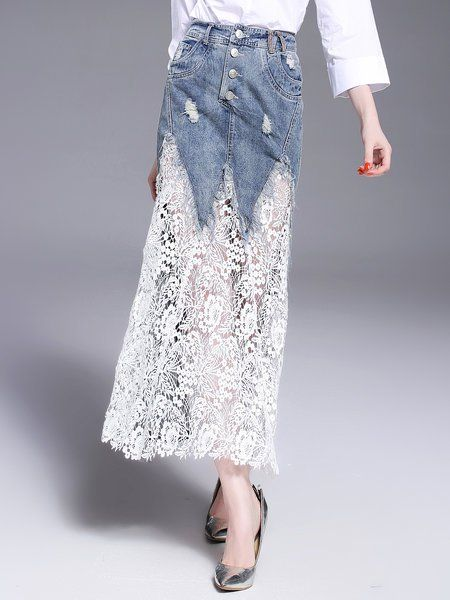 Shop Maxi Skirts - Blue Paneled Elegant Mermaid Lace Maxi Skirt online. Discover unique designers fashion at StyleWe.com.