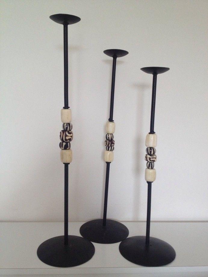 Wrought iron candle holders decorated with bone inlays ♦♦ candelabro in ferro battuto con inserti in osso decorato 28€ each