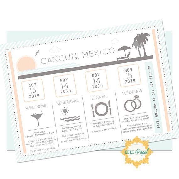 Wedding Gift Bag Itinerary : ... Wedding Itinerary on Pinterest Cancun wedding, Destination wedding
