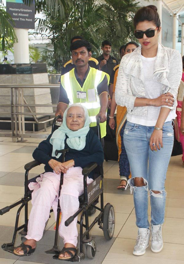 Priyanka Chopra was spotted with her grandmother at the Mumbai airport. #Bollywood #Fashion #Style #Beauty