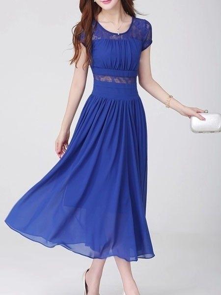 Round Neck Chiffon Patchwork Maxi-dress