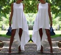 Wish | Women Summer Bohemian White Irregular Beach Dress Loose Flare Dress Tunic Female Sleeveless Beachwear Solid Boho Gowns Dresses