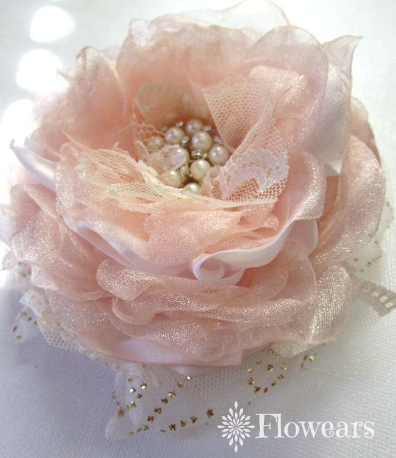 Bridal flower in blush pink and gold hair flower clip by Flowears