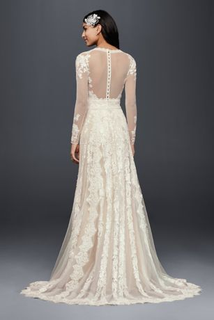 Romantic lace gets a fresh take on this sheath wedding dress with a captivating linear motif featuring four different lace appliques. Long illusion sleeves and a deep V-neckline make it luxurious from shoulder to hem   Melissa Sweet, exclusively at David's Bridal  Polyester  Sweep train  Back zipper; fully lined  Dry clean  Crafted in China