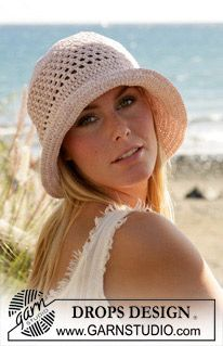 "DROPS Crochet hat in ""Paris""Crochet Hat Patterns, Summer Hats, Drops Design, Crochet Hats, Drop Design, Hats Pattern, Crochet Pattern, Sun Hats, Beach Hats"
