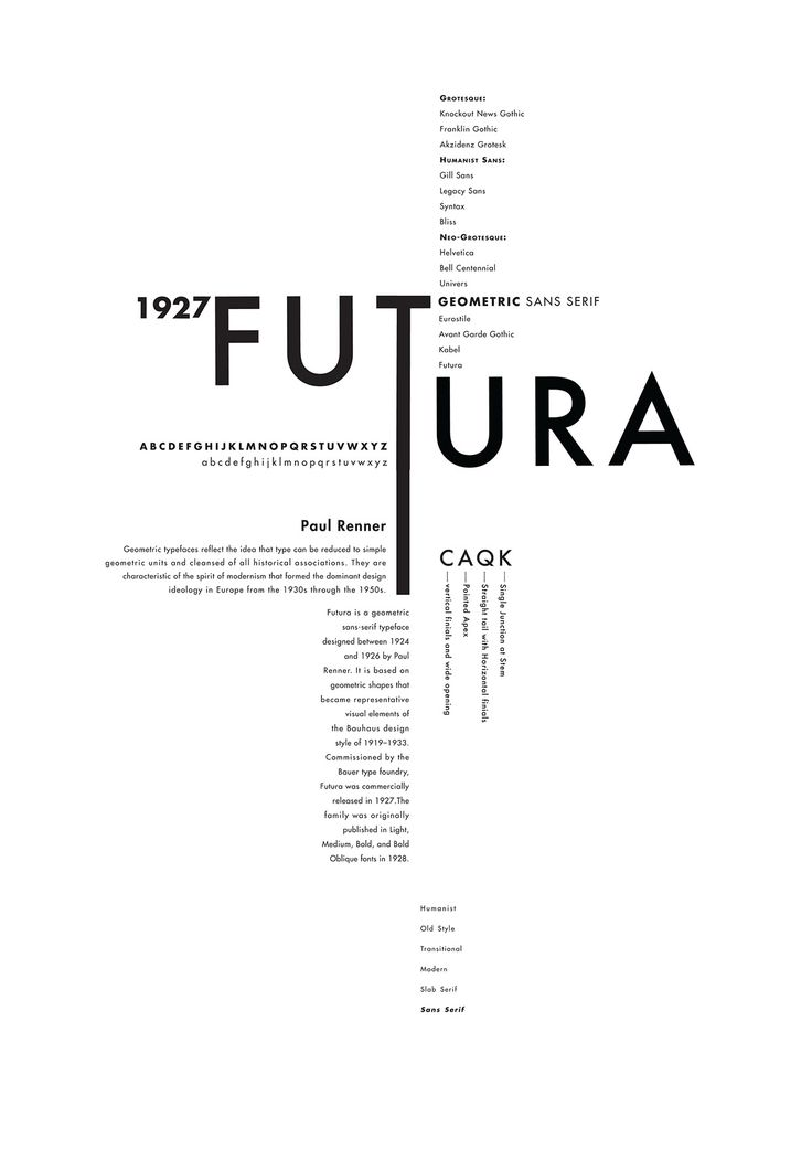 Classifying the typefaces: Futura, Rockwell and Adobe Caslon, into typographic design posters that reflect each of their personality and history.