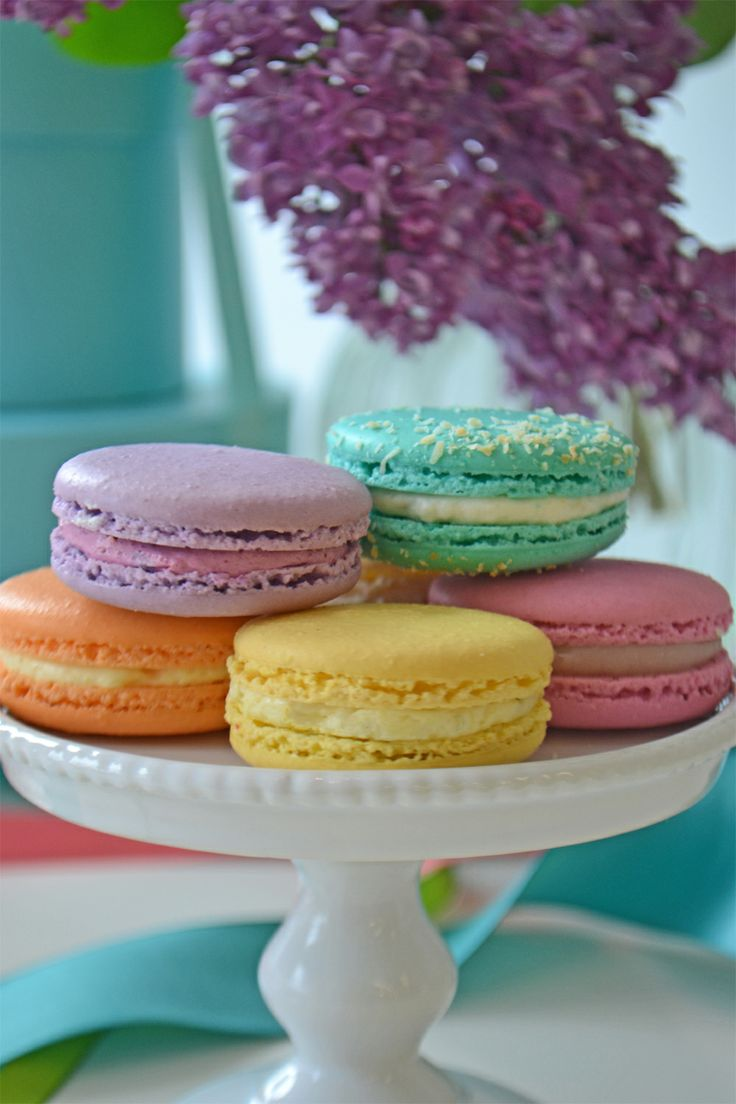 Lovely French macarons in Cassis, Coconut, Mango, Lemon and Strawberry Rose. From Bake Sale.