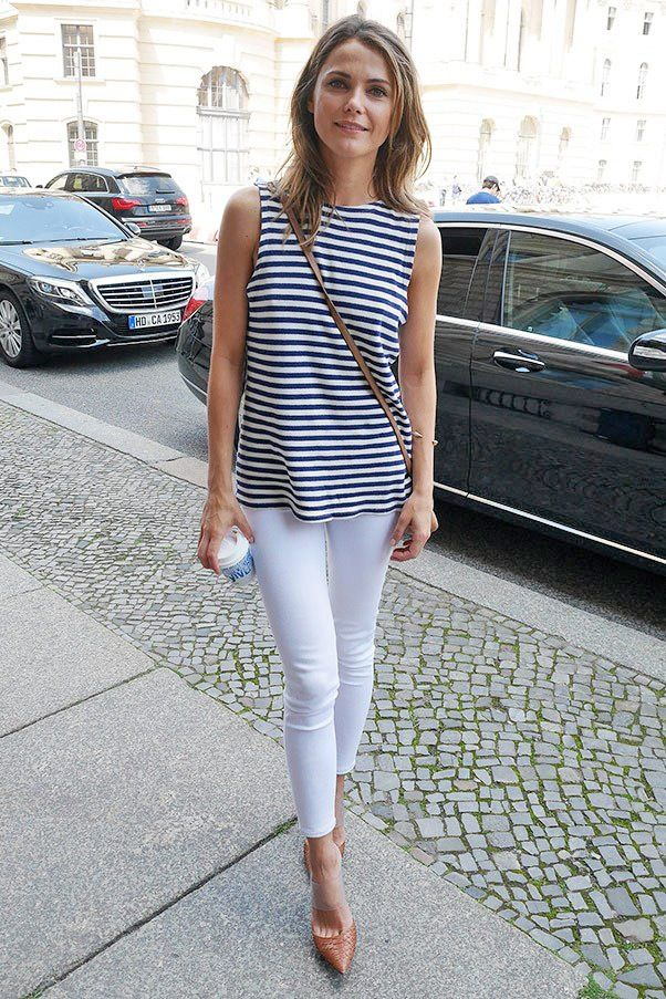 Striped, sleeveless top and white skinnies.