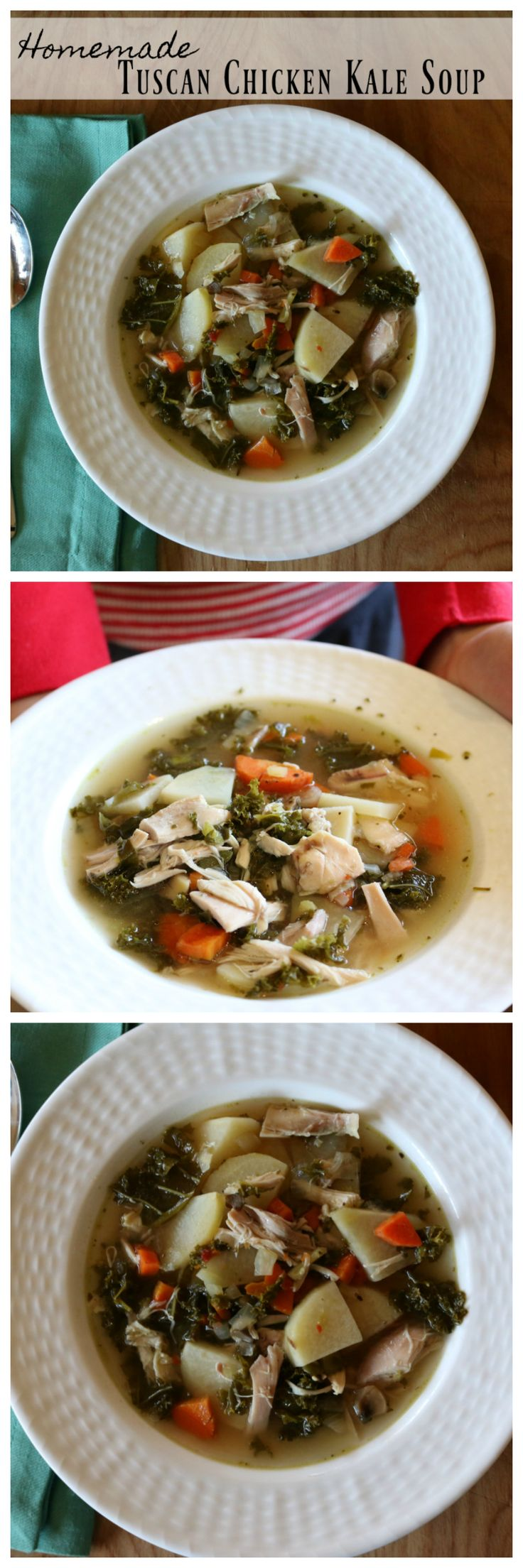 Easy Homemade Tuscan Chicken Kale Soup Recipe by CeceliasGoodStuff.com | Good Food for Good People