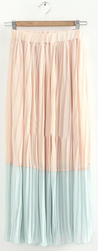 light pink & blue pleated chiffon maxi skirt.