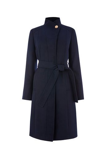 Oasis, LEAHANA LONG FUNNEL NECK COAT Navy