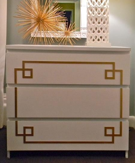 white Malm ikea dresser with gold leaf O'verlays - this is the Pippa design also available for Rast dresser ~~