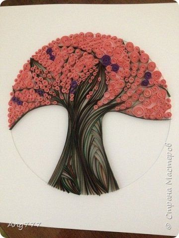 Картина панно рисунок Квиллинг Контурный квиллинг Дерево Бумажные полосы фото 1