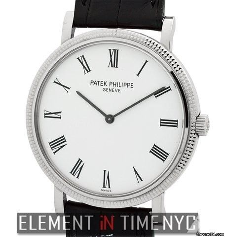 Patek Philippe Calatrava 18k White Gold White Roman Dial 35mm Ref. 5120G Price On Request