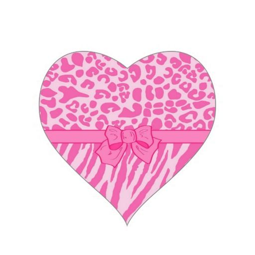 Cute pink zebra leopard animal print and girly bow heart sticker