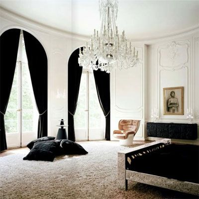 black and white and chandeliers.