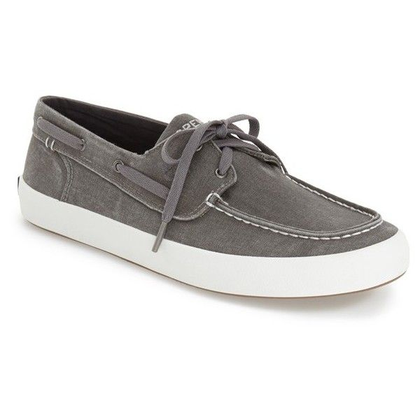 Sperry 'Wahoo' Boat Shoe ($50) ❤ liked on Polyvore featuring men's fashion, men's shoes, men's loafers, grey canvas, mens sperry topsiders, sperry mens shoes, mens lace up shoes, mens lightweight running shoes and mens breathable shoes