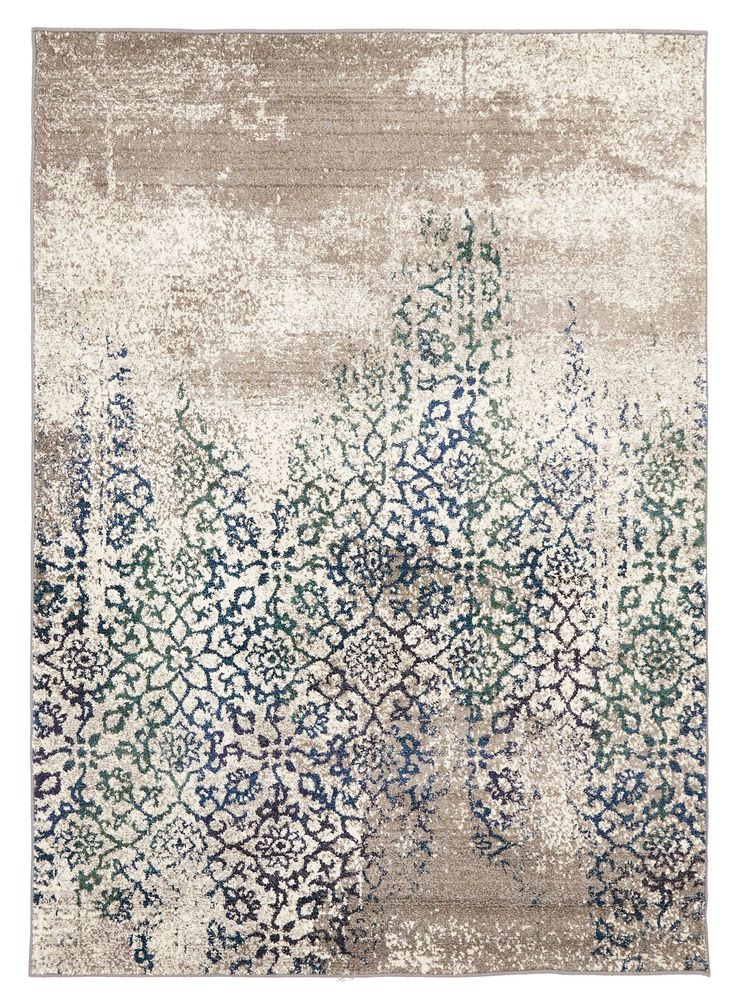 I absolutely love the distressed look of this Liwa Faded Ivory Blue Green Floral Motif Rug, and had to include it.