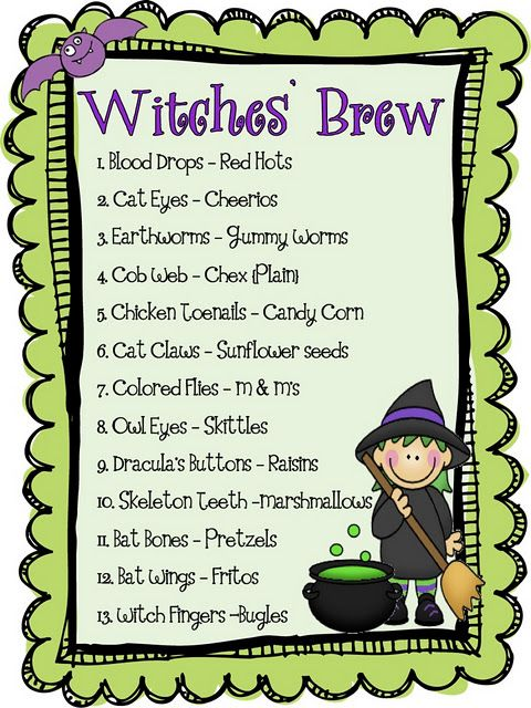 Witches Brew Snack Idea...Very Cute Treat Idea with Worksheets to go along with it: Witch Brewing, Halloween Parties, Halloween Witch, Holidays Ideas, Halloween Snacks, Halloween Treats, Snacks Mixed, Halloween Ideas, Witches Brew