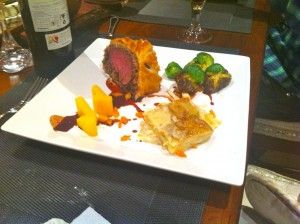 Beef Wellington, Turnip, Sprouts, Carrots, Bordelaise