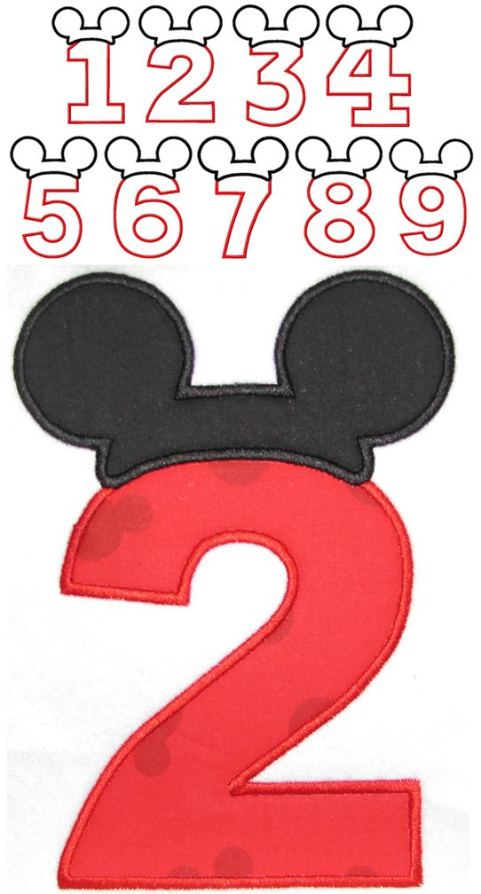 Mickey Mouse birthday number applique