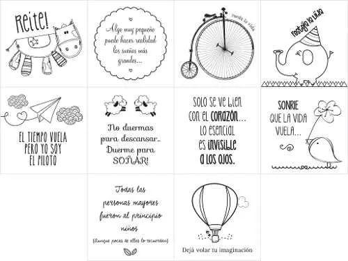 35 Mini Vinilos De 4x4cm Frases Con Dibujos. Ideal Souvenir - $ 225,00