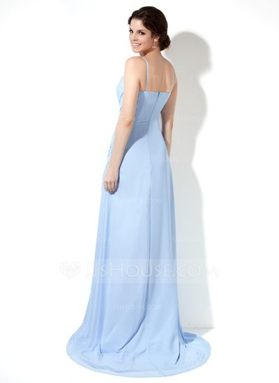 Vestidos princesa/ Formato A Decote V Sweep/Brush trem De chiffon Vestido de festa com Pregueado Frente aberta (017022519)