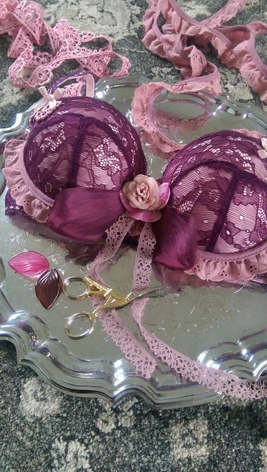 Embellishing a vintage faerie inspired bra set for The Magpies River https://www.etsy.com/uk/shop/TheMagpiesRiver?ref=hdr_shop_menu