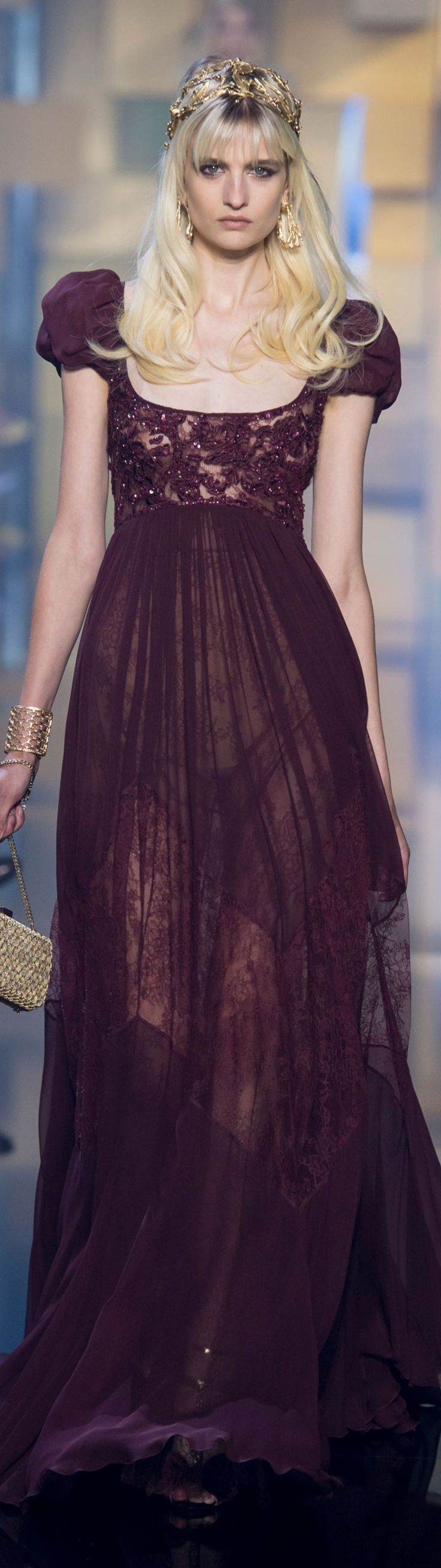 Again with the see through dress and no slip? This is a stupid trend among designers.  Love this dress, but a slip is in order.