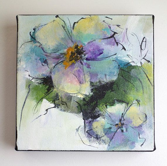 Original Abstract Acrylic Flower Painting Blue Lavender Green Art Inspired By Nature Painting On Canvas Nature Paintings Acrylic Flower Painting Abstract