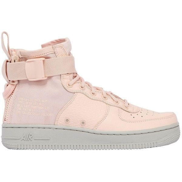 Nike Women Sf Air Force 1 Mid Top Sneakers (€180) ❤ liked on Polyvore featuring shoes, sneakers, pink, zip sneakers, zip shoes, pink sneakers, military shoes and pink leather sneakers