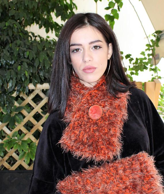 Faux fur scarves and wraps Crochet cowl scarf Shaggy crochet