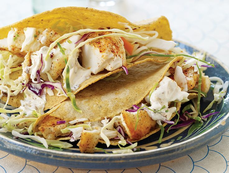 """fish tacos with chipotle cream #recipe from """"Weight Watchers 50th Anniversary Cookbook"""""""