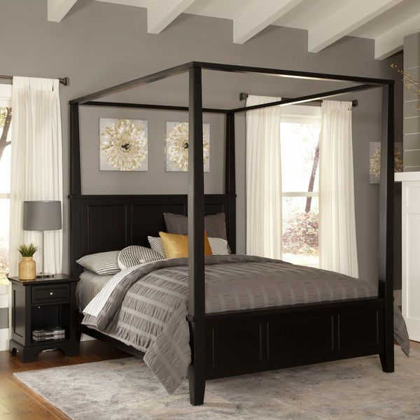 Black Wood Finish King Size Canopy Bed Nightstand 2 Piece Bedroom Furniture Set