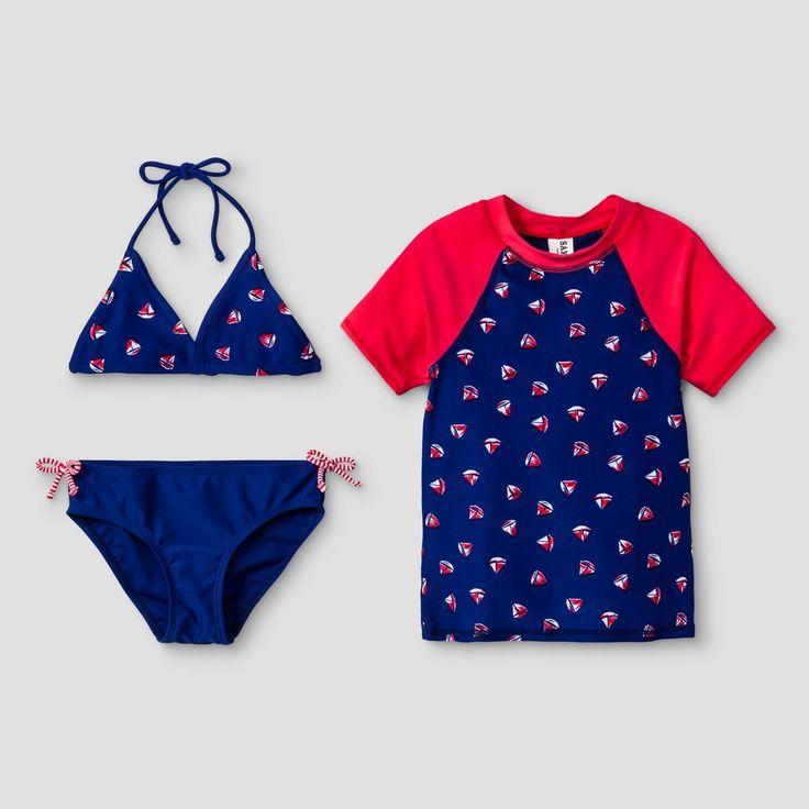 Girls' Malibu Dream Girl Popeye 3pc Swimwear Set - Red 16