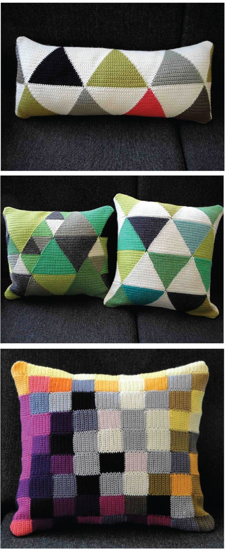 crochet pillows Graphic color blocking. Love when traditional craft is applied to modern design! @Megan Freeman This screams you!