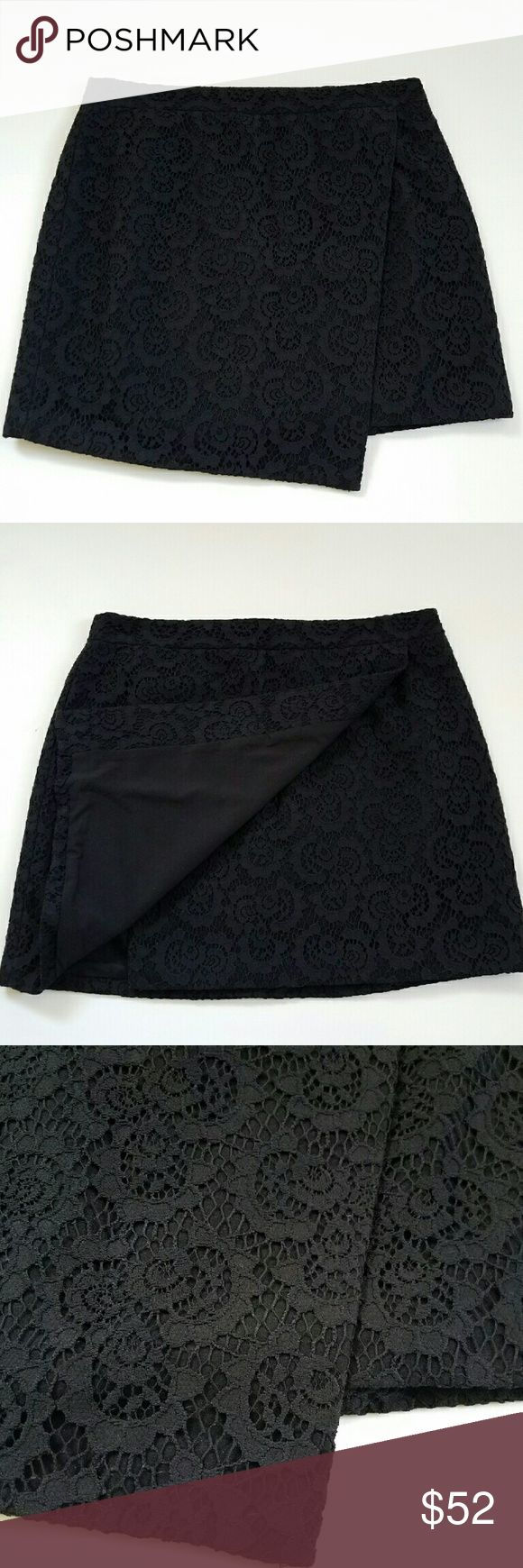 """Madewell Black Lace Asymmetrical Mini Skirt NWT A faux-wrap envelope skirt in rich textural lace. Coolly asymmetrical, it's a fresh take on a traditional party mini.? Short, straight mini skirt. 17.5"""" across waist, 17.5"""" long. Nylon/cotton. Madewell Skirts Mini"""