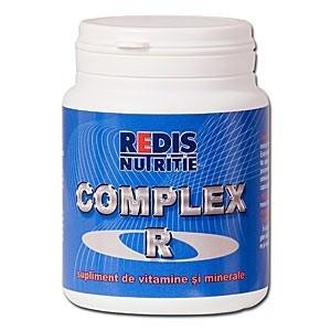 Complex R este un supliment alimentar vitamino-mineral indicat in cazul solicitarilor fizice mari, in avitaminoze, in profilaxia si tratarea unor boli si viroze. O cutie contine 50 capsule.