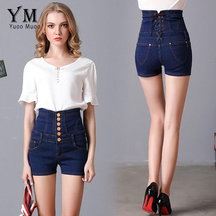 YuooMuoo Новый Плюс Размер 5XL Женщины Высокая Талия Черные Шорты европейский и Американский Стиль Джинсовые Шорты для Женщин Случайные Короткие брюки купить на AliExpress