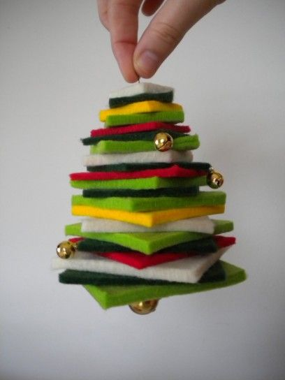 Albero di Natale e decorazioni fai da te - Albero Natale feltro da appendere