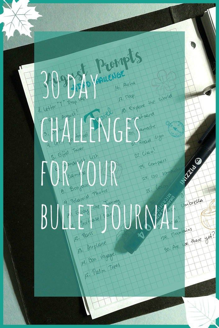 30 day challenges for your bullet journal