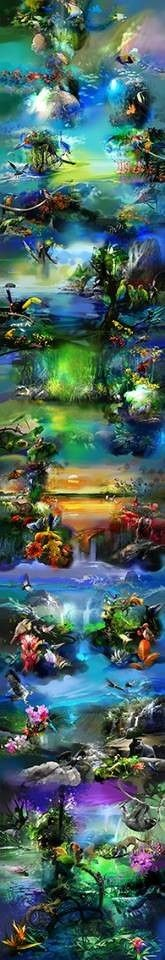 """Mural """"COLOMBIA"""" 3D Digital Painting (26.2 x 4.5 mts) Black Tower Premium Hotel…"""