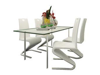 Fribärande stol i vitt konstläder med U-formad fot set i 4 delar